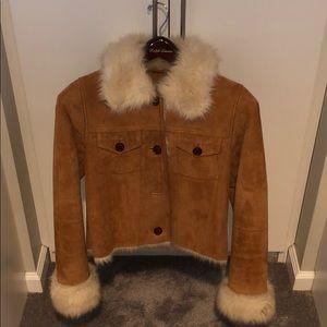 UGG Australia Suede Tan Jacket Fur Lined Like New